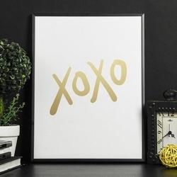 Xoxo - plakat w ramie ze złotym nadrukiem , wymiary - 30cm x 40cm, kolor ramki - biały, kolor nadruku - srebrny