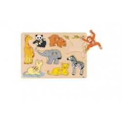 Goki drewniana układanka z uchwytami zwierzęta świata