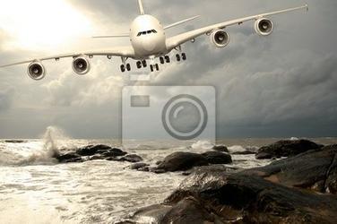 Fototapeta jumbo jet na lądowanie na karaibach