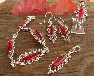 Sanvera - srebrny komplet z rubinami