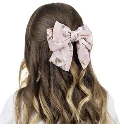 Spinka do włosów kokarda różowa kwiaty klamra duża