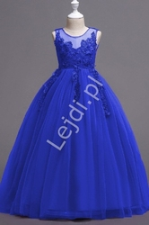 Chabrowa suknia dla dziewczynki z kwiatkami 3d  832
