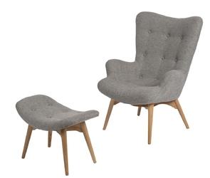 Fotel uszak z podnóżkiem contour szary 1508 - szary jasny
