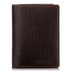 Skórzany cienki portfel brodrene sw01 cortez ciemny brąz