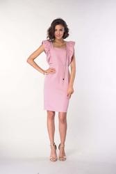 Dopasowana sukienka z falbankami różowa