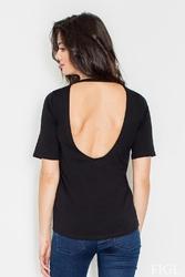 Czarna t-shirt z wycięciem na plecach