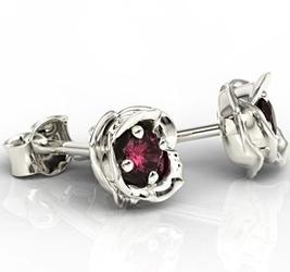 Kolczyki z białego złota z rubinami lpk-4221z - białe  rubin