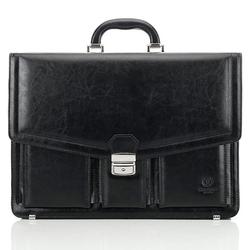 Skórzana teczka aktówka męska na laptopa paolo peruzzi ga162 czarna - czarny