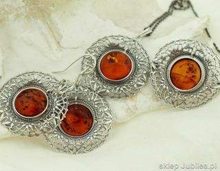 Venus - srebrny komplet biżuterii z bursztynem