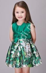 Wizytowa sukienka dla dziewczynki , kwiaty, butelkowa zieleń