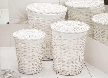 Kosz na pranie  bieliznę  brudownik wiklinowy okrągły z pokrywą altom design biały, zestaw 3 koszy