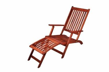 Krzesło z podnóżkiem - leżak z drewna eukaliptusowego