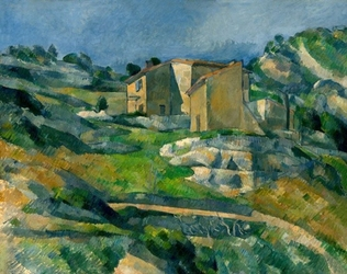 Houses in provence the riaux valley near lestaque, paul cézanne - plakat