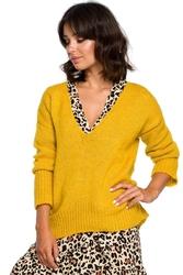 Musztardowy szykowny sweter w serek z dłuższym tyłem