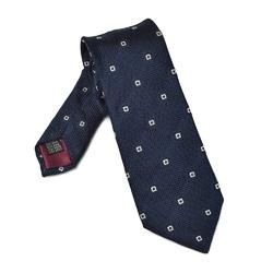 Elegancki granatowy krawat VAN THORN z grenadyny w kwadraty