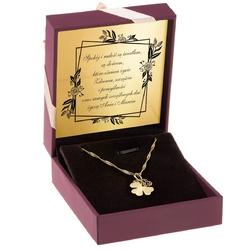 Złoty wisiorek ażurowa koniczynka pr. 585 grawer