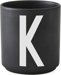 Kubek porcelanowy aj czarny litera k