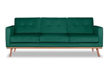 Sofa fern z funkcją spania welurowa 3-osobowa  deluxe - welur łatwozmywalny peacock