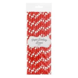 słomki papierowe czerwone w białe groszki 24 szt.