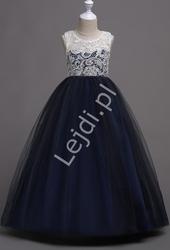 Ciemno granatowa długa suknia tiulowa dla dziewczynki z białą koronką na dekolcie  007