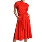 Sukienka midi wiązana w pasie - czerwona