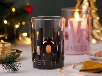 Świecznik szklany  lampion na świeczki tea light  podgrzewacze w metalowej osłonce altom design czarny home 10x15 cm