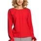 Elegancka bluzka z pliską i wiązanymi mankietami czerwona m322