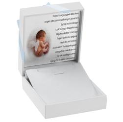 Pudełko na biżuterię białe z niebieską tasiemką dedykacja chrzest - pudełko na biżuterię białe z niebieską tasiemką