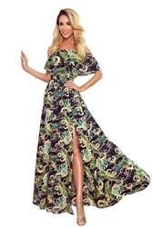 Maxi sukienka hiszpanka w zielone liście
