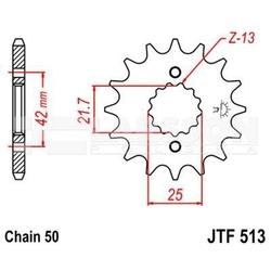 Zębatka przednia jt f513-13, 13z, rozmiar 530 2201389 yamaha yzf 600, sr 500