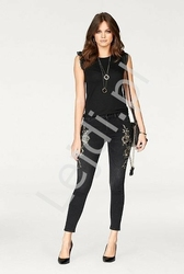 Czarne jeansy melrose z kwiatami 3d