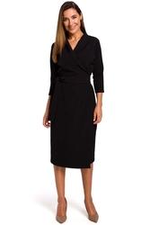 Czarna kopertowa sukienka wiązana na boku