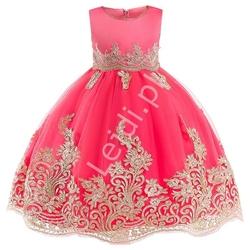 Sukienka dla dziewczynki na wesele, urodziny w kolorze arbuzowym ze złotym haftem