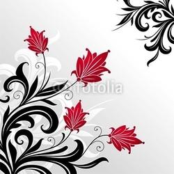 Obraz na płótnie canvas trzyczęściowy tryptyk dekoracyjna kwiecista ilustracja