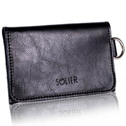 Skórzany portfel męskiwizytownik z miejscem na bilon solier sw20 czarny - czarny