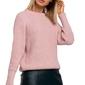 Klasyczny luźny sweter w prążek - różowy