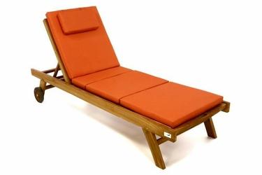 Leżak ogrodowy drewniany pomarańczowy divero