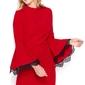 Czerwona mini sukienka z hiszpańskim rękawem z koronką