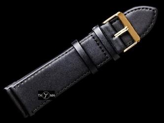 Pasek skórzany do zegarka - 26mm czarny + złota klamerka + białe przeszycia
