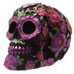 Meksykańska czaszka we fioletowe kwiaty - figurka