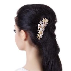 Ozdoba do włosów ślubna grzebyk kwiatki złota - złota