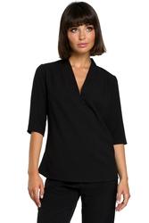 Prosta bluzka damska dekolt v z lnem czarna b090