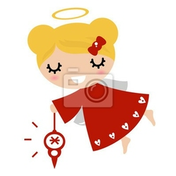 Naklejka anioł dziewczyna z xmas dekoracji czerwony