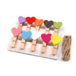 Drewniane klamerki z kolorowym sercem 40mm10 szt - MIX