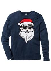 Sweter z bożonarodzeniowym motywem bonprix ciemnoniebieski