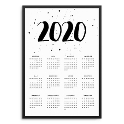 Watercolor - kalendarz w ramie , wymiary - 30cm x 40cm, kolor ramki - biały