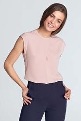 Różowa letnia bluzka z pęknięciem na przodzie