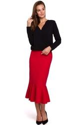 Czarna stylowa bluzka z kopertowym dekoltem