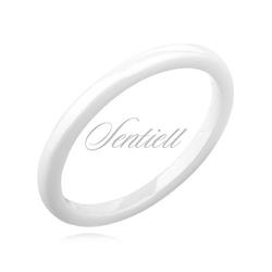 Biały pierścionek ceramiczny 2mm