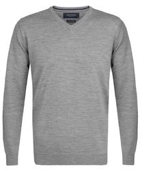 Elegancki szary sweter prufuomo z delikatnej wełny merynosów m